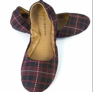 NWOT Lucky brand red plaid flats